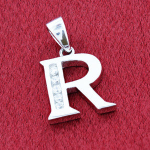 Round CZ Sterling Silver Initial R Pendant