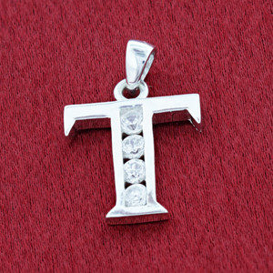 Round CZ Sterling Silver Initial T Pendant