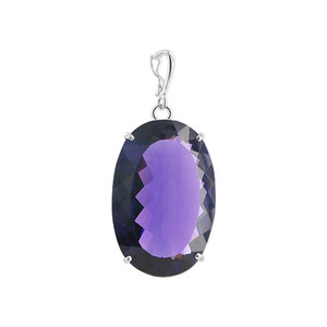 Bail Big Oval Amethyst Sterling Silver Pendant