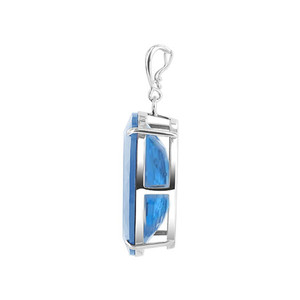 Bail Oval Blue Zircon Sterling Silver Pendant