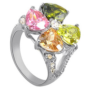 925 Sterling Silver Multicolor Cubic Zirconia Pear Four Leaf Clover Ring