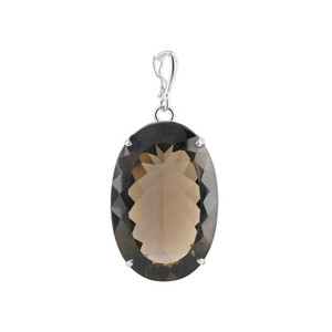 Oval Smokey Quartz Sterling Silver Pendant