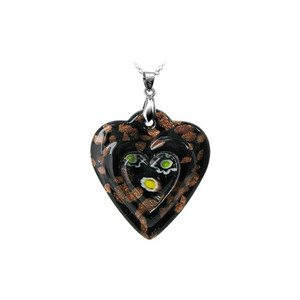 Black Heart Glass Stainless Steel Bail Pendant