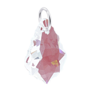 Baroque Shape Clear Crystal 925 Silver Charm Pendant