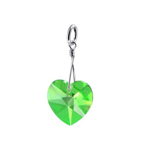 Heart Shape Green Multifaceted Sterling Silver Pendant