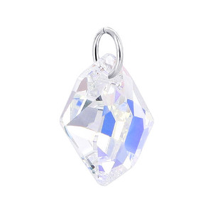Baroque Shape Clear Crystal 925 Silver Pendant