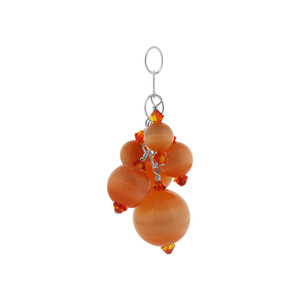 Orange Cats Eye Crystal Sterling Silver Charm Pendant