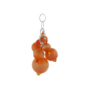 Orange Cats Eye Crystal 925 Silver Charm Pendant