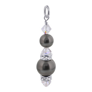 Dark Grey Simulated Pearl Crystal 925 Silver Charm Pendant