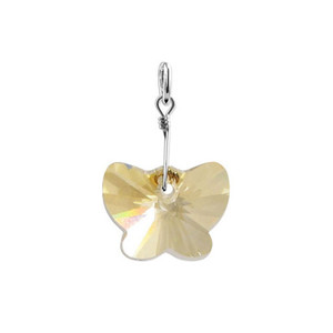 Butterfly Yellow Crystal Sterling Silver Charm Pendant
