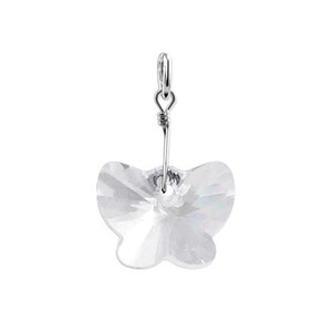 Butterfly Clear Crystal Sterling Silver Charm Pendant
