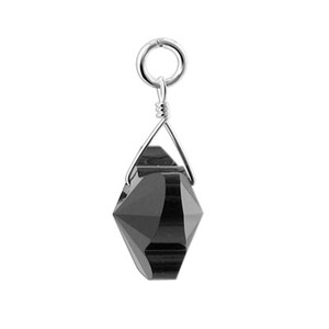 Butterfly Jet Black Crystal 925 Silver Charm Pendant