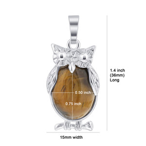 Tiger Eye Gemstone Owl Pendant