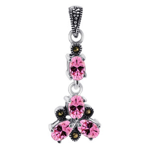 Oval Pink ice CZ Flower Sterling Silver Pendant