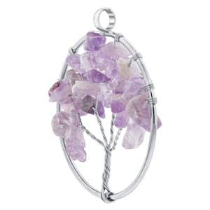 Silver Plated Amethyst Chips Pendant