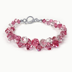 Pink and Clear Crystal 925 Silver 7.5 Inch Bracelet