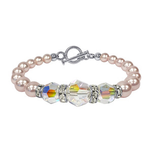 Pink Pearl with Clear AB Crystal 7.5 inch 925 Silver Bracelet