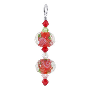 Red Blown Glass and Crystal Sterling Silver Pendant