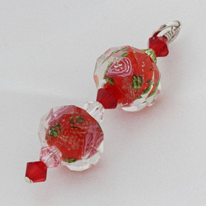 Red Blown Glass and Crystal 925 Silver Pendant
