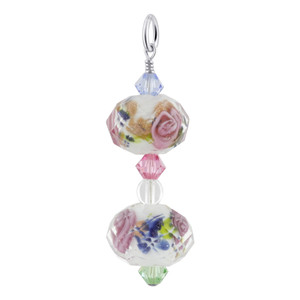 White Blown Glass and Swarovski Crystal Sterling Silver Pendant