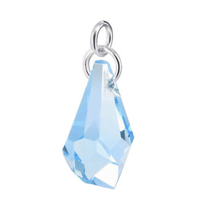Polygon Shape Blue Crystal Sterling Silver Pendant