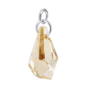 Polygon Shape Yellow Crystal Sterling Silver Pendant