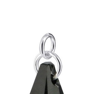 Polygon Shape Black Crystal Sterling Silver Pendant