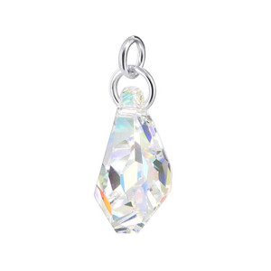 Polygon Shape Clear Crystal Sterling Silver Pendant