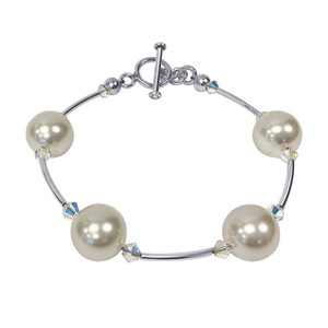 Crystal with White Faux Pearl 7.5 inch 925 Silver Bracelet