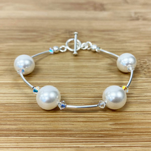 Crystal with White Faux Pearl 7.5 inch Sterling Silver Bracelet