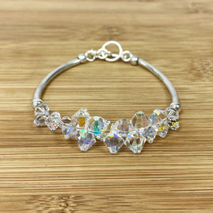 Clear AB Crystal 7.5 inch Sterling Silver Bracelet