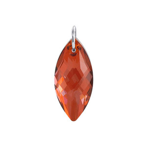 Marquise Shape Red Crystal Sterling Silver Pendant
