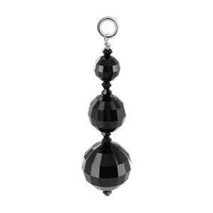 Round Jet Black Crystal Sterling Silver Charm Pendant