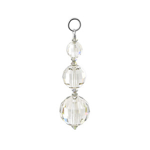 Round Clear Crystal Sterling Silver Charm Pendant