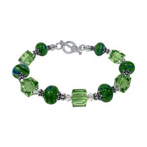 Green Millefiori Glass With Crystal 925 Silver Bracelet