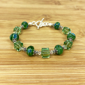 Green Millefiori Glass With Swarovski Crystal Bracelet