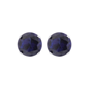 8mm Round Blue Sapphire Cubic Zirconia CZ Stud Earrings