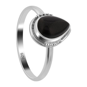 Black Onyx Gemstone Sterling Silver Ring