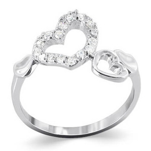 925 Silver Multi Open Heart Cubic Zirconia Accent Ring