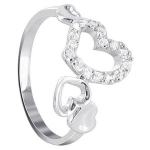 925 Sterling Silver Multi Open Heart Cubic Zirconia Accent Ring