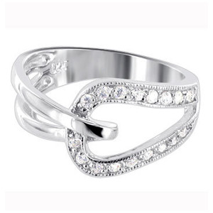 925 Silver Polished Finish Round Cubic Zirconia Ring