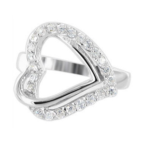 925 Silver Round CZ with Accents Open Heart Ring