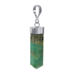 Natural Amazonite Crystal 925 Silver Pendant