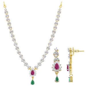 Ruby and Emerald Stone Necklace Earrings Set
