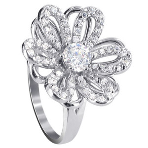 925 Sterling Silver Round Clear Cubic Zirconia Accent 15mm Flower Ring