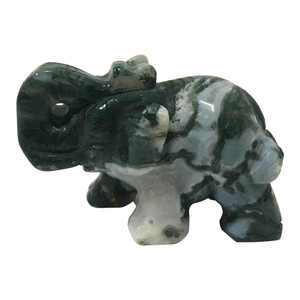 Hand Carved Elephant Moss Agate Crystal