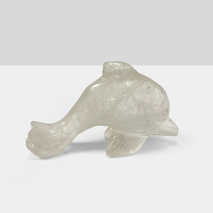 Hand Carved Dolphin Clear Quartz Crystal Gemstone
