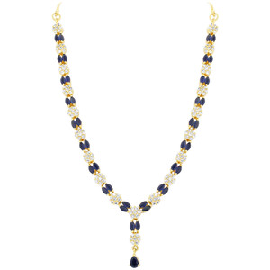 Blue Sapphire Stone Necklace Earrings Set
