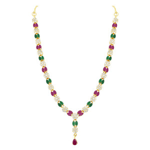 Gold Plated Emerald and Ruby Simulated Stone Necklace Earrings Set