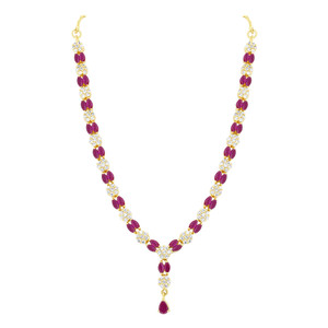 Ruby and Clear Stone Necklace Earrings Set